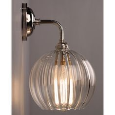 Clear Ribbed Glass Globe Pendant Ceiling Light - Hereford (industrial vintage designer retro style) Designer Lighting, Contemporary Wall Light With Ribbed Hereford Glass Globe Shade Glass Wall Lights, Bathroom Wall Lights, Ceiling Lights, Ceiling Pendant, Glass Walls, Wall Lamps, Wall Sconces, Hallway Wall Lights, Bathroom Lamps