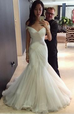 Mermaid Off The Shoulder Wedding Dress Ivory Tulle Cheap Wedding Dress - Mermaid Wedding Dresses Sexy Wedding Dresses, Elegant Wedding Dress, Tulle Wedding, Cheap Wedding Dress, Bridal Dresses, Wedding Gowns, Trumpet Wedding Dresses, Trendy Wedding, Custom Wedding Dress