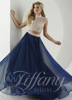 Tiffany Designs 16135 Navy/Nude Beaded Illusion Two Piece Prom Gown, 2 piece prom dresses are all the rage for #prom2016