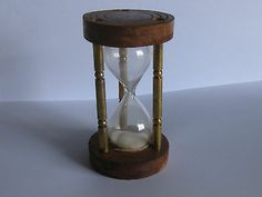 Classic Nautical Hour Glass Sand Timer Brass and Wood With Columns Collectible