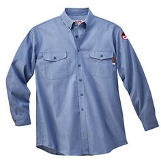 f25d72fb39119 Walls Flame Resistant Chambray Button Down Work Shirt oz. Cotton