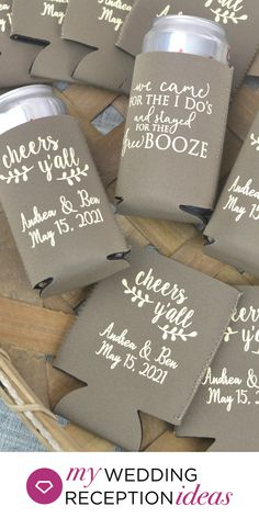 Wedding Koozie Favors - Place a basket filled with personalized wedding koozies at your wedding reception bar for guests to grab when they come up for a beer or soda pop. Can coolers are an affordable thank you favor guests can use again. Wedding Reception Ideas, Fall Wedding, Diy Wedding, Rustic Wedding, Wedding Gifts, Wedding Planning, Dream Wedding, Christmas Wedding, Wedding Poses