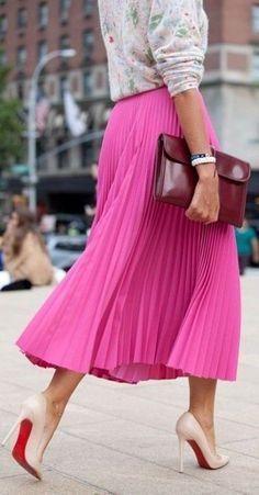 #spring #fashion | Pastel Floral On Pink Pleats | Lauren Conrad