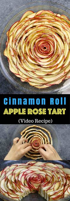 Wow your guests with this gorgeous and delicious Cinnamon Roll Apple Rose Tart. It's so easy to make and are perfect for any party. Healthy Apple Desserts, Apple Recipes, Sweet Recipes, Delicious Desserts, Dessert Recipes, Yummy Food, Healthy Food, Fish Recipes, Apple Rose Tart