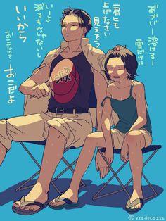 真夏の日差しを耐えながら演習を見守る深雪ちゃんと提督 pic.twitter.com/39RuwSJoVN