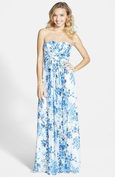 Free shipping and returns on a. drea Strapless Floral Print Gown (Juniors) at Nordstrom.com. Crisscrossing panels of pleats shape the sweetheart bodice and Empire waist before releasing down the skirt of an enchanting gown. Another stand-out feature: the delicate floral print rendered in China blue.