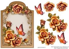 Topper Shaped Floral 1 on Craftsuprint designed by Carol James - Beautiful flowers and butterfly on a shaped topper. Some decoupage pieces for that 3d effect. Can be used for lots of different occasions.  - Now available for download!