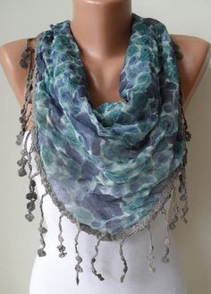 Blue and Flowered Scarf  with Grey Trim Edge  by SwedishShop, $18.90