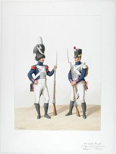 French; Garde Royale, 5th Infantry Regiment, Voltigeur & Fusilier, 1816 by Auguste Moltzheim