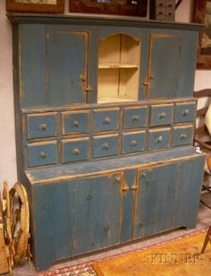 """Country Blue-painted Wooden Step-back Cupboard, inscribed """"W. 18 in. Primitive Cabinets, Primitive Furniture, Country Furniture, Country Decor, Antique Furniture, Country Blue, Prim Decor, Rustic Decor, Primitive Homes"""
