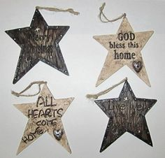 Western Star Messages Christmas Ornaments - Set of 4 - Brand New