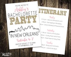 New Orleans Bachelorette Party Invitation and Itinerary - NEW ORLEANS Bachelorette Party - Printable Invitation by TwoSistersPaperieCo on Etsy https://www.etsy.com/listing/255983691/new-orleans-bachelorette-party