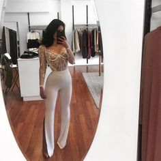 birthday outfit V Neck Eyelash Lace Long Sleeve Bodysuit Top Club Outfits For Women, Mode Outfits, Night Outfits, Chic Outfits, Fashion Outfits, Clothes For Women, Casual Clubbing Outfits, Party Outfit Night Club, Dinner Party Outfits