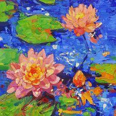 "Inspiration is boundless at the New York Botanical Garden! ""Floating Jewels #1"" (acrylic on canvas) #lisapalombo @nybg #nybg #waterlilies #art #artist #artoftheday #painting #monet #beautiful #interiordecorating #contemporary #contemporaryart #decoractor #interiordesigns #modernart #artistsoninstagram #Impressionism #postimpressionism #wallart #love #coral #peach #waterlily #lotus #lotusflower #laquintamuseum #CA"