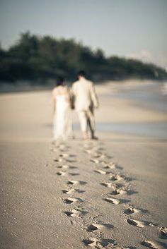 Beach Wedding Photoshoot Ideas Sure To Inspire I love the perspective of this wedding photograph, focusing on the footprints of the bride and groom on the beach.The Beach The Beach may refer to: Beach Wedding Photos, Beach Wedding Photography, Pre Wedding Photoshoot, Wedding Poses, Wedding Shoot, Photoshoot Ideas, Wedding Beach, Wedding Ideas, Trendy Wedding