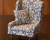 Blythe Scale Wing Back Chair - Light Pink and Brown Demask Fabric 1:6th Scale