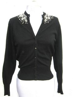 Vintage 50s 60s Hand Beaded Navy Blue Angora Cardigan Sweater ...