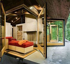 This one is so freaking cool - so many amazing design elements | 600-Sq-Ft-Tye-River-Cabin-Washington-003