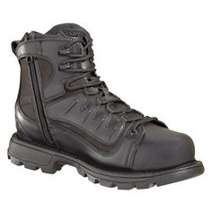 Thorogood Mens Station Black Leather Side Zip Safety Toe 6in Tactical WP