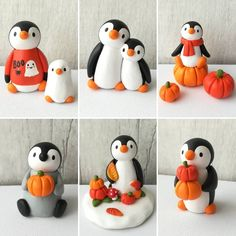 Autumn and Halloween penguins 2018 Polymer Clay Christmas, Cute Polymer Clay, Cute Clay, Polymer Clay Projects, Diy Clay, Fall Crafts, Diy And Crafts, Crafts For Kids, Paper Crafts