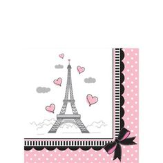 Pink Paris Beverage Napkins 16ct - Party City