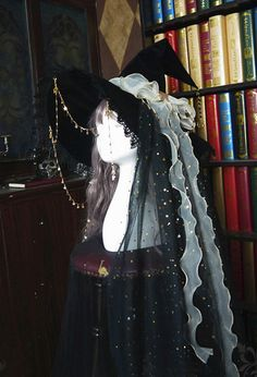 Gothic Lolita Witch Astrology Hat–Gothic Accessory Outfit  Dark Long Veil and Hanging Chain Hat In Stock