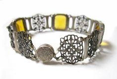 Late Victorian Era circa early 1900s Gold Glass Silvertone Bracelet. $70.00, via Etsy.