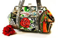 Love this!!- Black Day of the Dead Purse with Your Choice by HOLDFASThandbags, $140.00 - Etsy