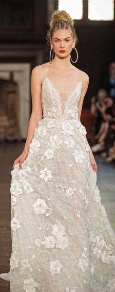 Wedding Dress by BERTA | V-Neck Appliqué A-Line Gown