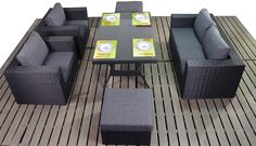 Black 2 seater sofa set with dining table