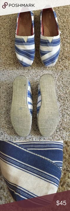 TOMS Rope Classics Worn once • Small stain on R shoe (noted in pic) • Water spot on inside of R shoe (noted in pic) • TOMS bag & sticker included Toms Shoes Flats & Loafers