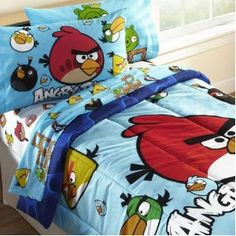 #1: Angry Birds Twin Comforter Set WITH Twin Sheet Set