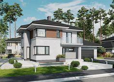 Projekt domu piętrowego APS 274+2G o pow. 170,1 m2 z obszernym garażem, z dachem wielospadowym, z tarasem, sprawdź! Home Fashion, Villa, Mansions, House Styles, Home Decor, Mansion Houses, Decoration Home, Manor Houses, Villas