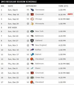 2013 Pittsburgh Steelers Schedule