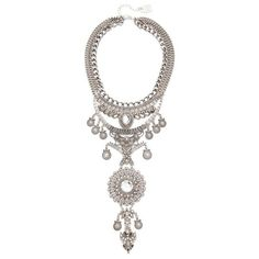 Adia Kibur Reese Statement Necklace (325 RON) ❤ liked on Polyvore featuring jewelry, necklaces, antique silver, bib jewelry, extra long necklace, adia kibur jewelry, adia kibur necklace and tiered necklace