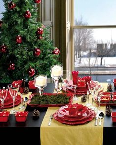 Decorating, Alluring Modern Christmas Decor With Cool Yellow Table Runner And Stainless Steel Cutlery Set Red Antique Ceramic Plate Also Wine Cup Pine Tree Fruit Decorations Glass Candle Holders Ball Ornament Dining Table Glass Window Frame: Modern Christmas Decorations Interior and Exterior