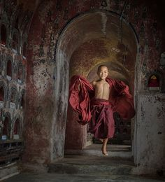 Jumping - by Stephen Wallace (Taken in a monastery in Nyaungshwe, Myanmar)