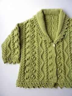 Knitting Patterns Sweter Ravelry: Lace Edged Cardigan pattern by Debbie Bliss Knit Baby Sweaters, Knitted Baby Clothes, Crochet Clothes, Baby Knits, Baby Cardigan, Cardigan Pattern, Baby Patterns, Knit Patterns, Baby Knitting Patterns Free Cardigan