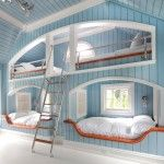 Amazing Shared Bedroom Design Idea for Quadruplets with Great Bunk Bed and White Beddings and Silver Ladder also Blue Painted Wood Wall and Ceiling Planks