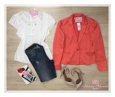 Blusa crepe pérolas + Blazer Laranja + calça jeans - Casual outfit