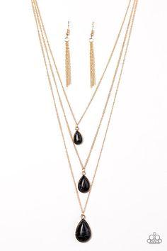Black teardrop layered necklace - mountain tears black