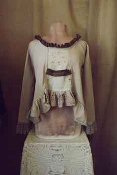Lagenlook Romantic Boho Blouse Victorian Inspired Organic Cotton Vintage Linen & Lace Handdyed Ruffles Size M-L