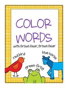 brown bear color word spelling cards (free) by Penny Mac Kindergarten Colors, Preschool Colors, Teaching Colors, Kindergarten Literacy, Teaching First Grade, Teaching Reading, Book Activities, Preschool Activities, Teaching Resources