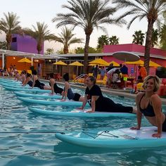 All smiles at last night's Sunset SUP Yoga at @thesaguaroaz in #scottsdale !  . #supyoga #supaz #paddleboarding #fitness #yoga #yogaonwater #thingstodoinphoenix #thingstodoinscottsdale #sunset #spring #springbreak #spingtraining #cactusleague #arizona #riverboundsports #thesaguaro #poolparty
