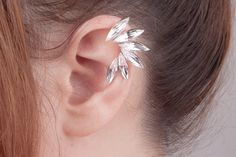 Stud Earrings – angel wing ear cuff - Zirconia – a unique product by Milky-peach via en.DaWanda.com