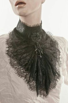 Fashion Logo Lace Jabot Black eyelash lace Tall collar ruffled lace Beaded fringe and black rose Mourning steampunk Elegant gothic aristocrat Steampunk Fashion, Victorian Fashion, Gothic Fashion, Gothic Mode, Gothic Lolita, Gothic Art, Faux Col, Lolita Cosplay, Lace Collar