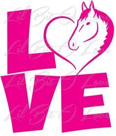 LOVE with Horse Heart Vinyl Decal Sticker Car Tattoo Equestrian Love