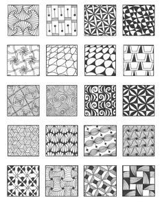 ZENTANGLE PATTERNS inspiration for those times you just can't conjure anything polar opposite what you've been in the habit of doodling Doodle Drawing, Tangle Doodle, Tangle Art, Zentangle Drawings, Doodles Zentangles, Zen Doodle, Doodle Art, Doodle Inspiration, Patterned Sheets