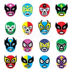 Lucha libre, luchador Mexican wrestling masks icons royalty-free stock vector art