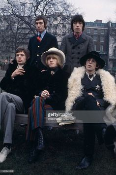 The Rolling Stones pictured together for a press call in Green Park, London on 11th January 1967. Clockwise from top left: Charlie Watts, Bill Wyman, Keith Richards, Brian Jones and Mick Jagger.
